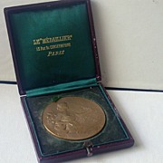 SALE French Bronze Horticultural Medal, Cased Circa 1906