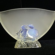Verlys Opalescent Lovebirds Console Bowl C.1935-51, Signed