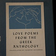 """Love Poems From The Greek Anthology"" Translated, c.1955"