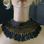 Vintage Beaded & Fringe Collar With Black Grosgrain Ribbon Band.