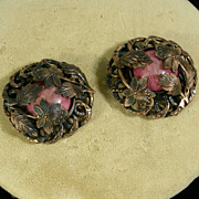 Art Deco Period Pair of Copper & Glass Dress Clips, Circa 1920's