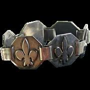 Vintage Silver Bracelet W/Octagonal Links, Handmade