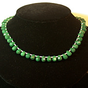 Green Onyx Briolette/Glass Bead/925 Toggle Clasp Choker