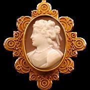 Antique Victorian Cameo, 15K Gold, English Circa 1880