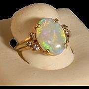 Australian Opal/Diamond/18K Gold Ring, Size 7, Estate