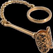 14K Gold taille d'epargne Handkerchief Clip w/Ring & Chain