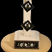 Antique Victorian Pietra Dura Pin & Earrings Demi Parure