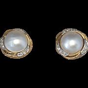 Mabe Pearl/Diamond/14K Yellow & White Gold Post Earrings