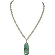 Chinese Carved Jade Pendant W/Seed Pearl Twisted Rope/18K Clasp