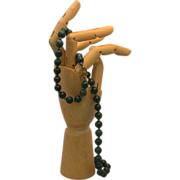 """Asian Spinach Jade Beads, Sterling Clasp, 25"""" Length, Re-strung"""