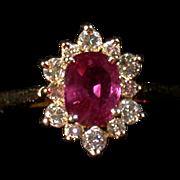 Rubellite Tourmaline, Diamond  & 14K Gold Ring, Vintage