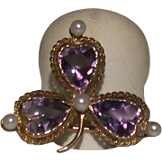Amethyst, Pearl and 10K Gold 3-Leaf Pin, Vintage