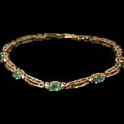 "Emerald, Diamond, 10K Gold Flexible Bracelet, 7"" length"