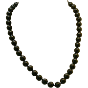 "Black Onyx Bead Necklace, Hand-tied, 20"" Length"