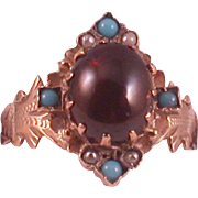 Antique 1870's Garnet Cabochon/Turquoise/Seed Pearl Ring, 14K Pink Gold