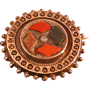 Victorian Scottish Pebble Jewelry Pin, Circa 1850-60, Multi Stones
