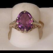 Amethyst/14K Gold Edwardian Period Lady's Ring, Size 3 ½