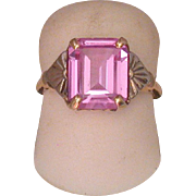 Art Deco Period Pink Quartz and 10K White & Yellow Gold Ring, Size 4