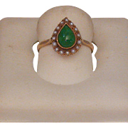 Jade and Seed Pearl 14K Gold Ring, Circa 1910-20, Size 6