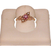 Ruby & Seed Pearl 14K Lady's Ring, Late Victorian