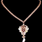Art Nouveau Period Enameled Pendant w/Heart, Diamond, Seed Pearls