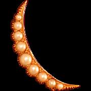 Natural Pearl and 14K Yellow Gold Crescent Moon Pin, C. 1910-20