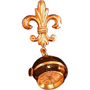Star Spangled Black Enamel Ball Watch On Fleur-de-Lis Pin, Swiss Made, Vintage, Runs