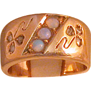 Irish 14K Rose Gold/Blue Opals/Diamond Lady's Ring, Size 5 ½