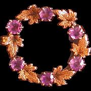 Antique Lady's 14K/10K/Amethyst Wreath Pin C. 1890-1910