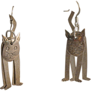 Sterling Silver Cat Earrings, Articulated, Dangles