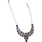 Sterling Silver And Lapis Lazuli Necklace, Modern Style