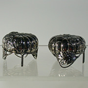 Pair of Antique Japanese 950 Silver S & P Shakers, Melon Form