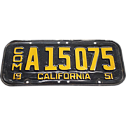 SALE 1951 California Commercial License Plate