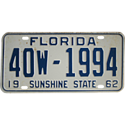 Old Florida License Plate 1962