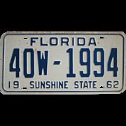 SALE Old Florida License Plate 1962