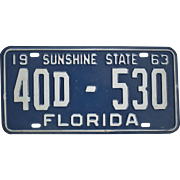 SALE Old 1963 Florida License Plate