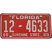 Old Florida License Plate 1968