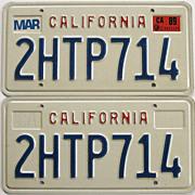 REDUCED California License Plates Block Pair 1989