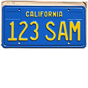 SALE California Sample License Plate from the 1970's, 123 SAM