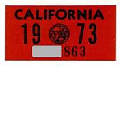 California License Plate Sticker, 1973 NOS