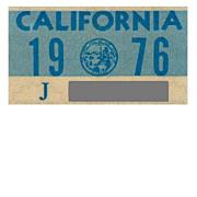 California License Plate Sticker, 1976