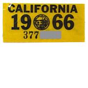 Old 1966 California License Plate Sticker