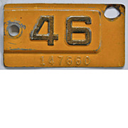 SALE Old California License Plate Year Tab 1946, YOM
