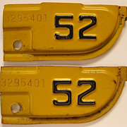 Vintage 1952 California License Plate Tabs