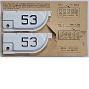 California License Plate Tabs, 1953, NOS, Matching Numbers!