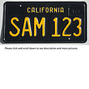 Black California Sample License Plate 1963 SAM 123