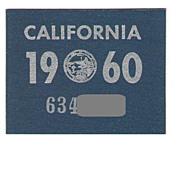 1960 California License Plate Sticker