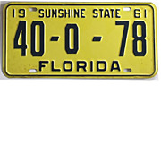 REDUCED Vintage Florida License Plate, 1961 Tag