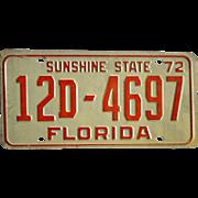 Vintage 1972 Florida Tag