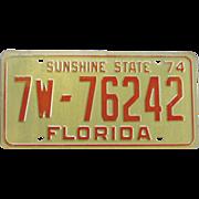Vintage Florida Tag 1974